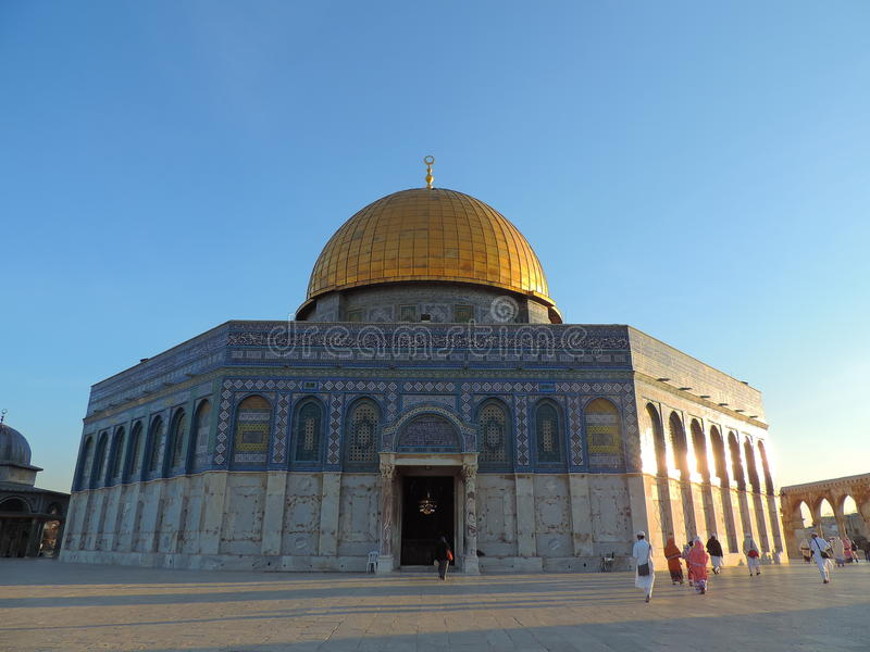 Golden tomb of Al-Aqsa mosque, Jerusalem. This picture captures the golden tomb of the Al-Aqsa mosque. Al-Aqsa Mosque, also known as Bayt al-Muqaddas, is the stock images