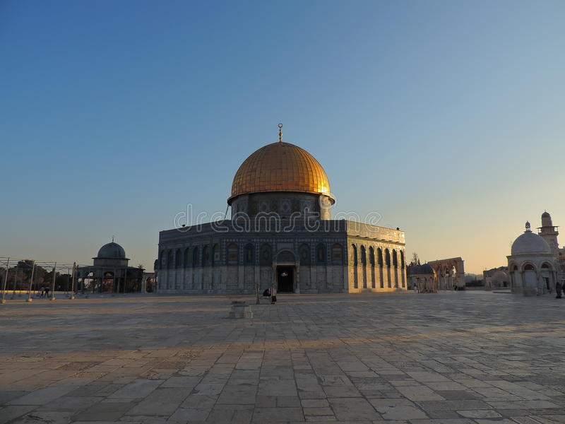 Golden tomb of Al-Aqsa mosque, Jerusalem. This picture captures the golden tomb of the Al-Aqsa mosque. Al-Aqsa Mosque, also known as Bayt al-Muqaddas, is the royalty free stock photos