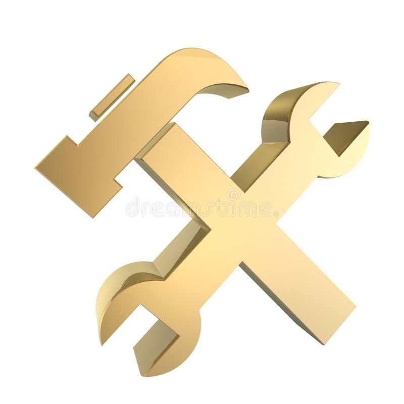Golden tools stock illustration