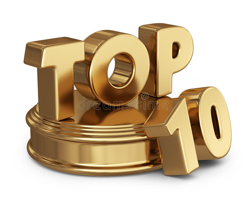 Golden top 10 list. 3D icon on white royalty free illustration
