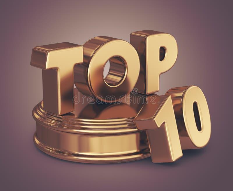 Golden top 10 list 3D stock illustration