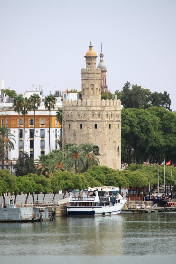 Golden tower in Sevilla royalty free stock photos