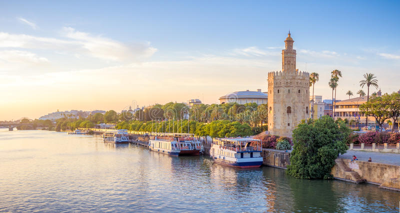 The Golden Tower of Seville stock image