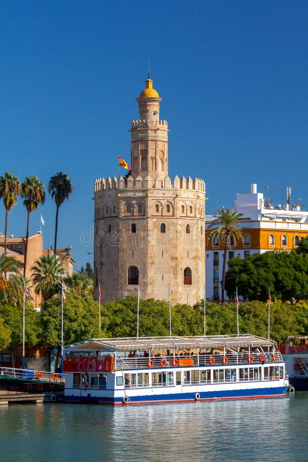 Sevilla. Golden Tower. Golden Tower Torre del Oro on the banks of the Guadalquivir River. Sevilla. Andalusia. Spain royalty free stock photos