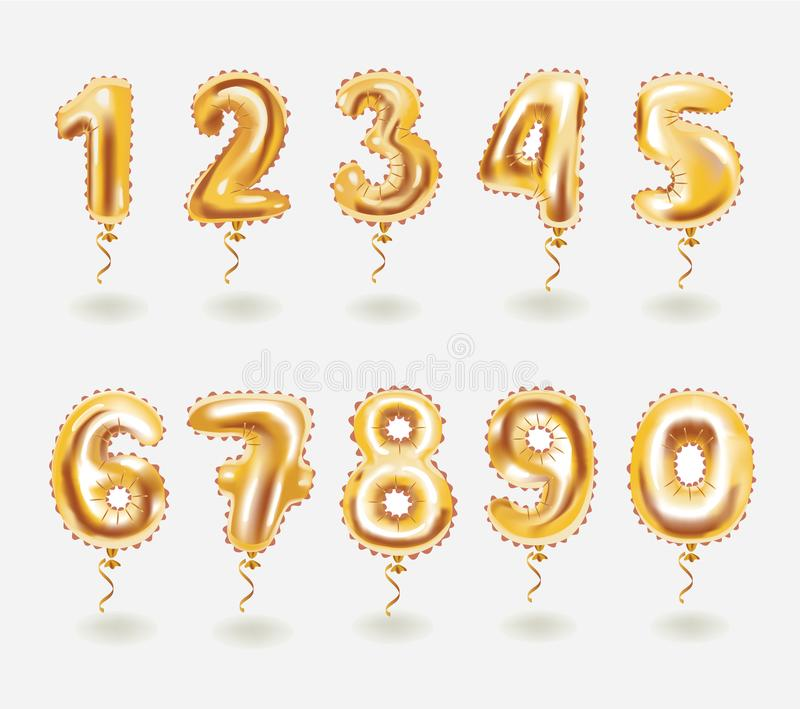 Golden toy balloons 3d vector number set stock illustration