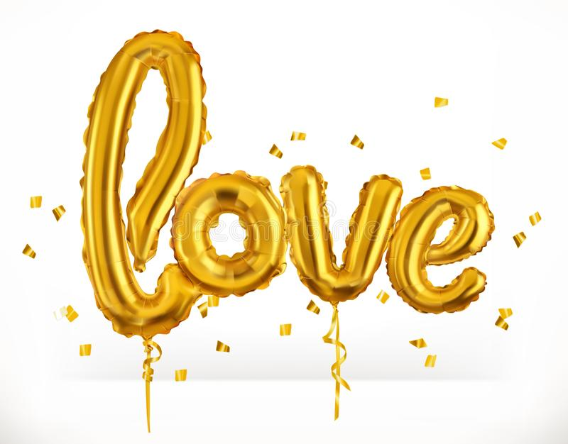 Golden toy balloons. Love. Valentine`s Day, 3d vector icon stock illustration