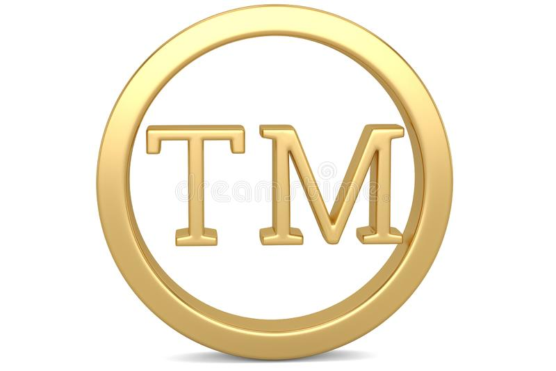 Golden trademark symbol isolated on white background 3D illustration. royalty free illustration