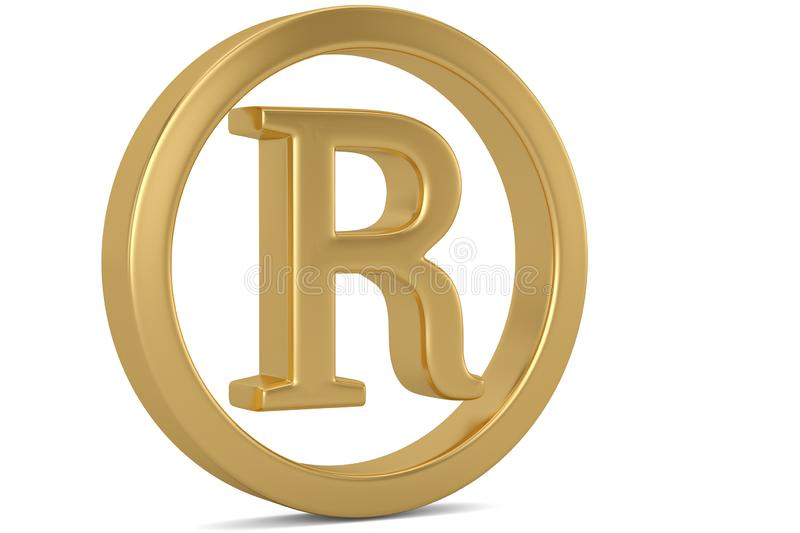Golden trademark symbol isolated on white background 3D illustration. vector illustration