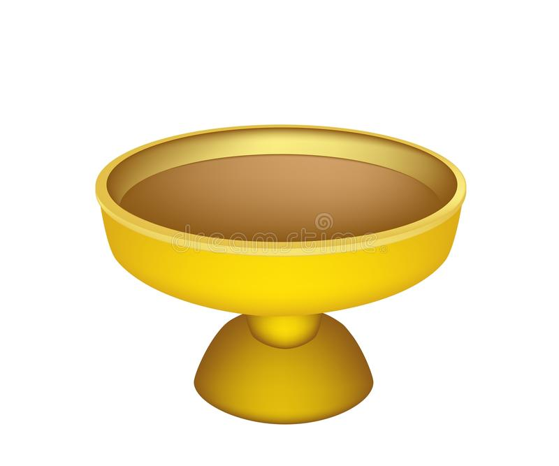 Download A Golden Tray With Pedestal On White Background Stock Vector - Illustration of gold, catering: 39514244