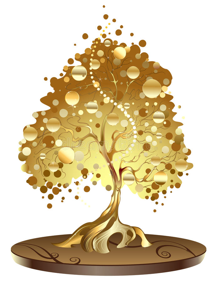 Golden tree with coins vector illustration