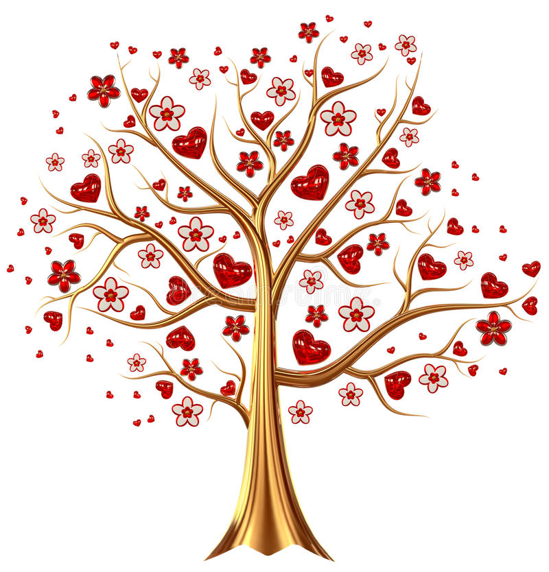 Golden tree with hearts and flowers. Beautiful golden tree with expensive ruby red heart-shaped leafs, and vermeil flowers as jewelry stock illustration
