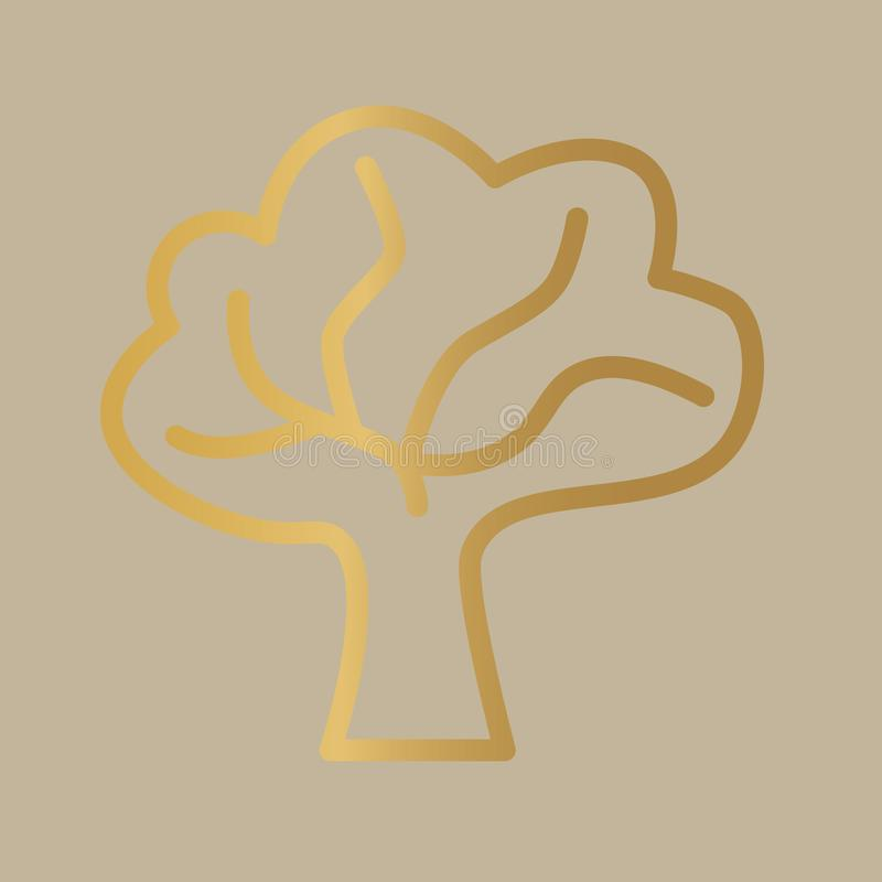 Golden tree icon. Vector illustration royalty free illustration