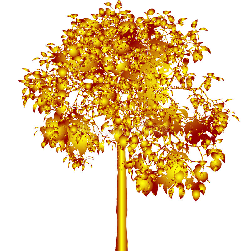 Golden tree. Vector. stock illustration
