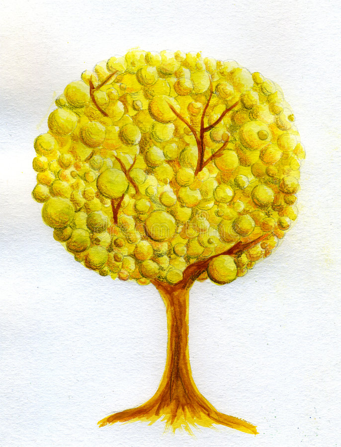 Golden tree - watercolor royalty free stock images