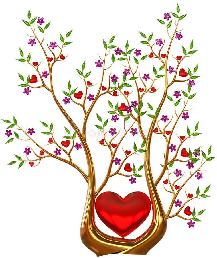 Free Golden Tree With Hearts And Flowers Royalty Free Stock Images - 29333999