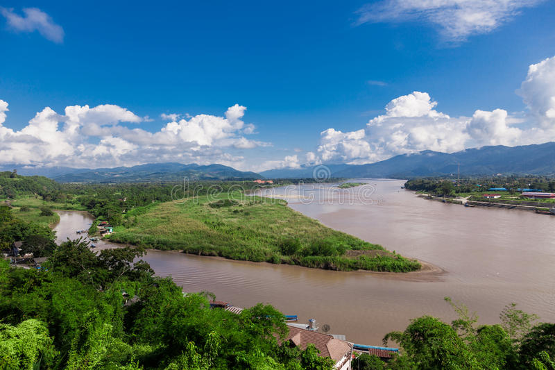 Golden Triangle at Mekong River, Chiang Rai Province. Thailand royalty free stock photo