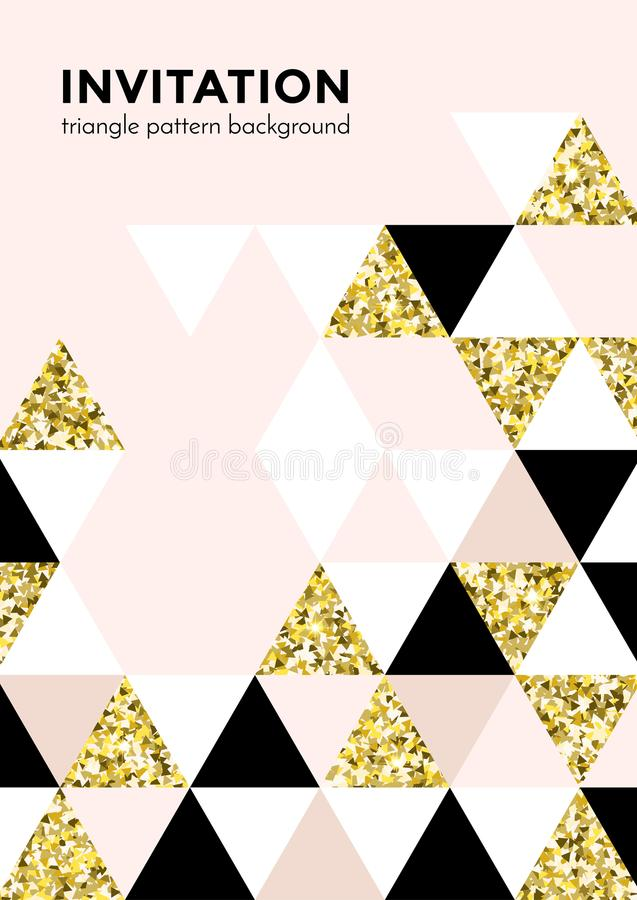 Golden triangle pattern background for invitation card or Christmas party poster design template of square and triangle modern tre royalty free illustration