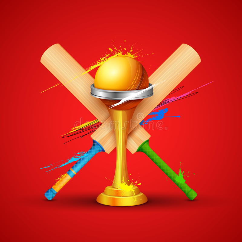 Golden trophy with cricket bat stock illustration