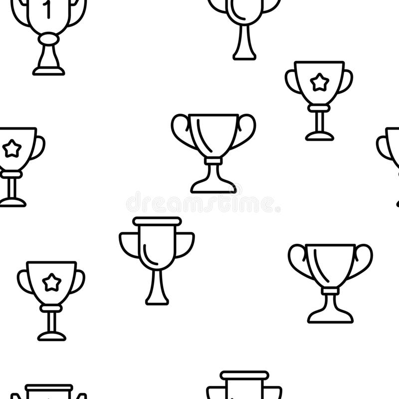 Golden Trophy Cup Vector Seamless Pattern stock illustration