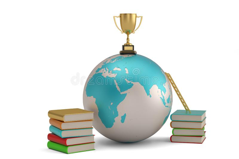 A golden trophy on globe and two stack of books.  isolated on white background. 3D illustration.  vector illustration