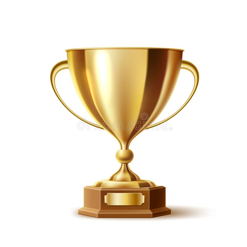 Vector realistic golden trophy, gold cup award stock illustration