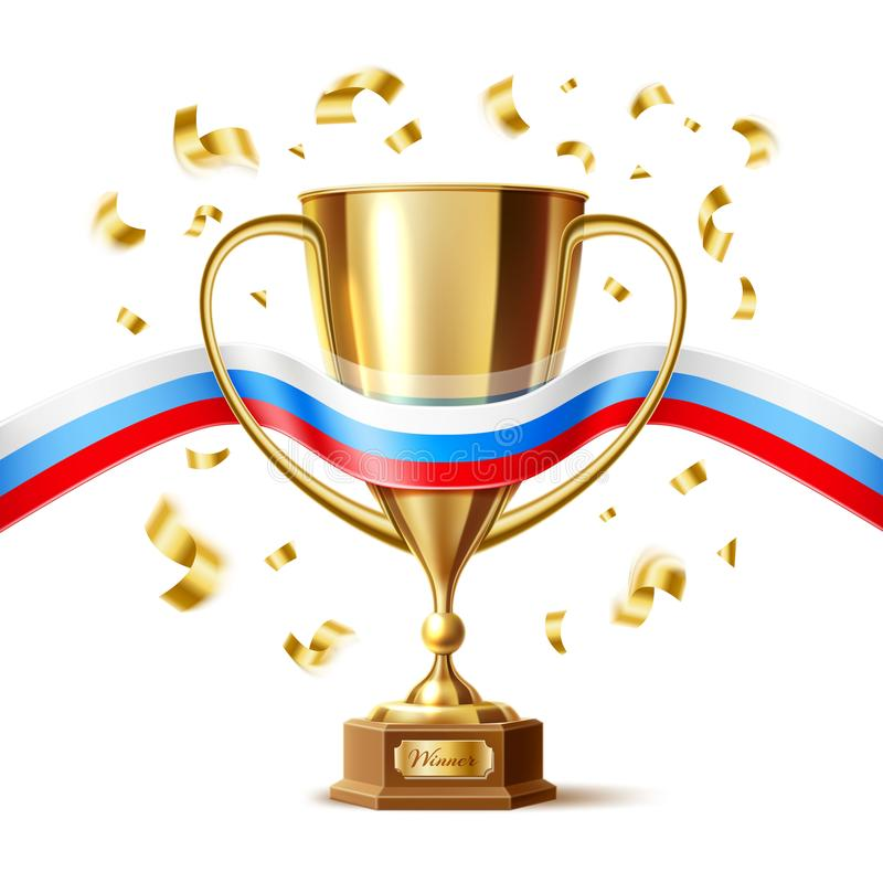Vector realistic golden trophy cup russian flag stock illustration
