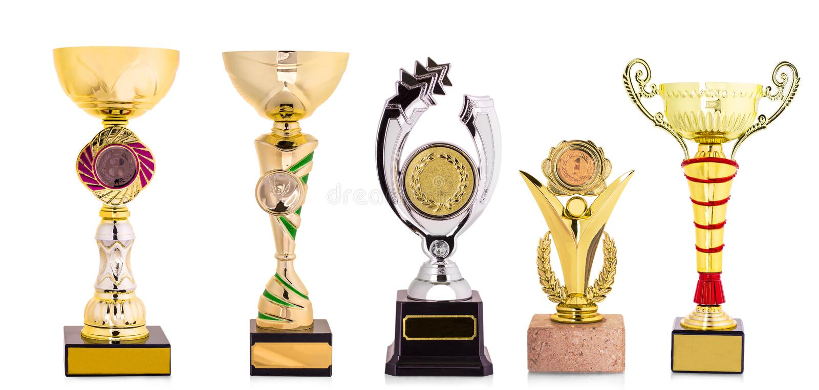 Golden trophy isolated on white background. royalty free stock image