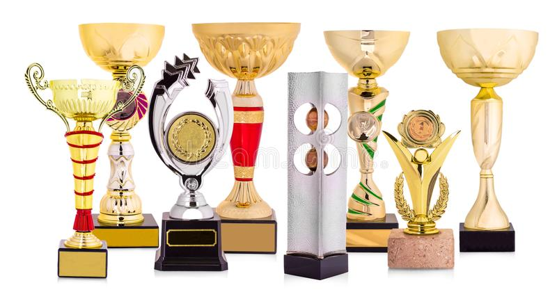 Golden trophy isolated on white background. royalty free stock images