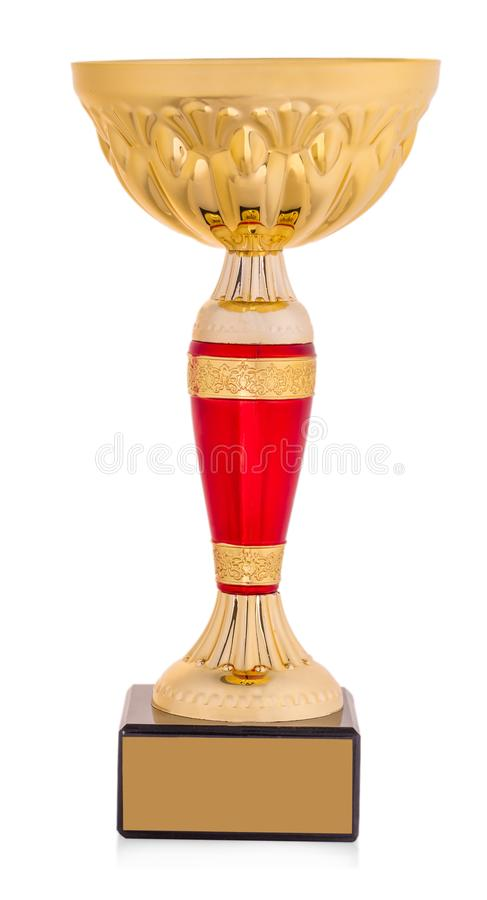 Golden trophy isolated on white background. royalty free stock photography