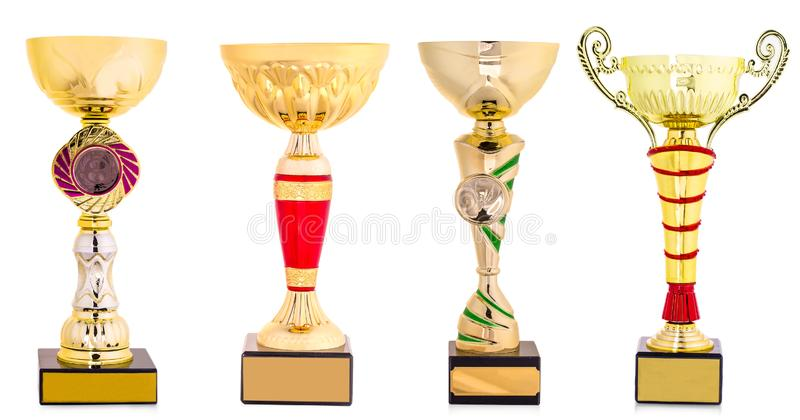 Golden trophy isolated on white background royalty free stock photo