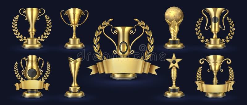 Golden trophy. Realistic champion award, contest winner prizes with laurel shapes, 3d awards banner. Vector golden cup vector illustration