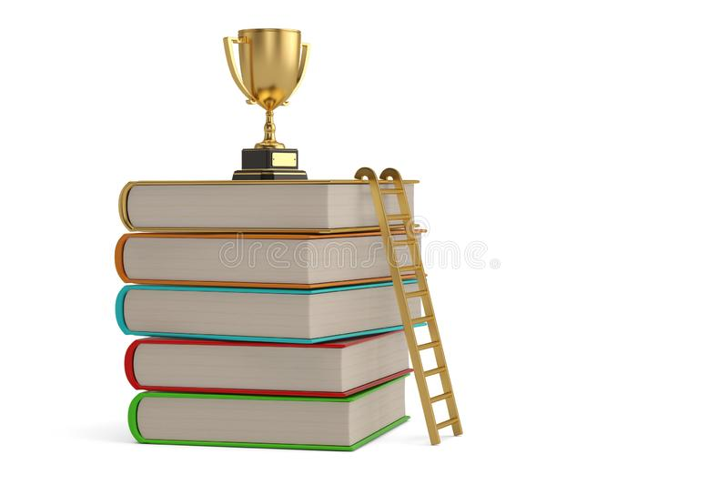 A golden trophy on top of a stack of books.  isolated on white background. 3D illustration.  stock illustration