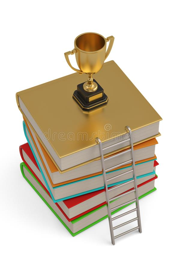 A golden trophy on top of a stack of books.  isolated on white background. 3D illustration.  royalty free illustration