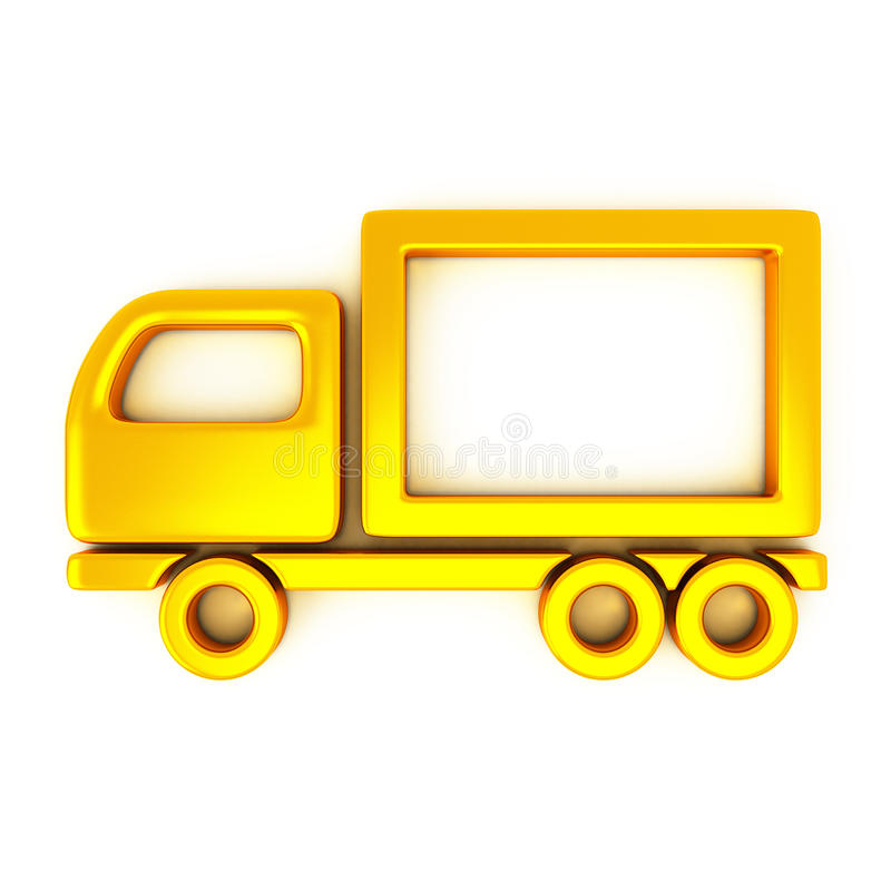 Golden truck, 3d royalty free illustration