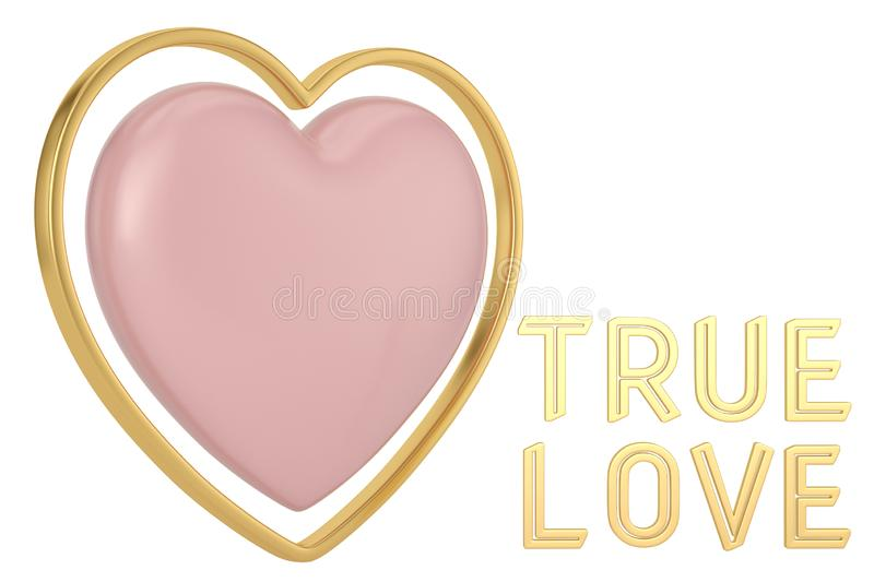 Golden true love word and hearts background. 3D illustration.  royalty free illustration