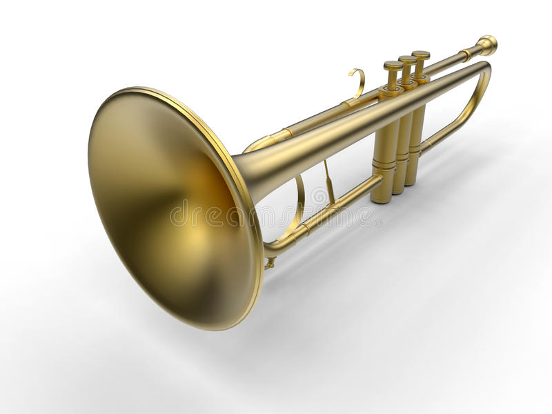 Golden trumpet. 3D render illustration of a golden trumpet. The object is isolated on a white background with strong shadows stock illustration