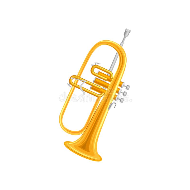 Golden trumpet in flat style. Large brass wind instrument with straight tubing in three sections. Vector design for vector illustration