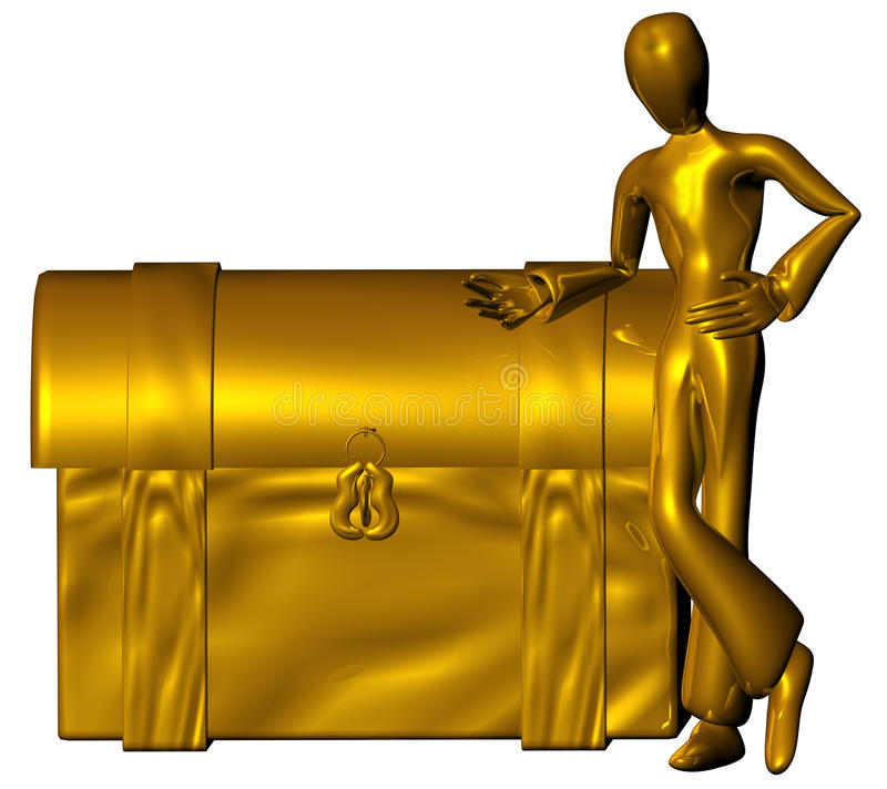 Golden trunk. 3d character with golden trunk isolated on a white background vector illustration