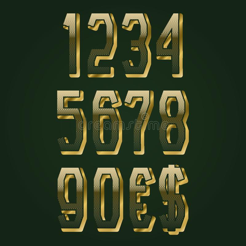 Golden tweed textured numbers with currency signs of American dollar and euro. Vector symbols.  vector illustration