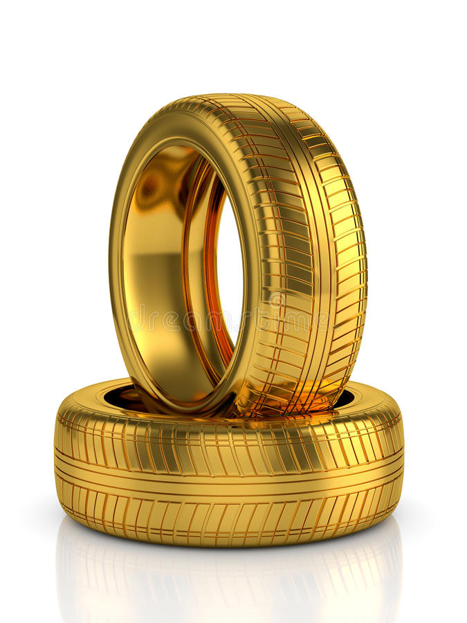 Golden tyre. 3d render of golden tyre isolated on white background vector illustration