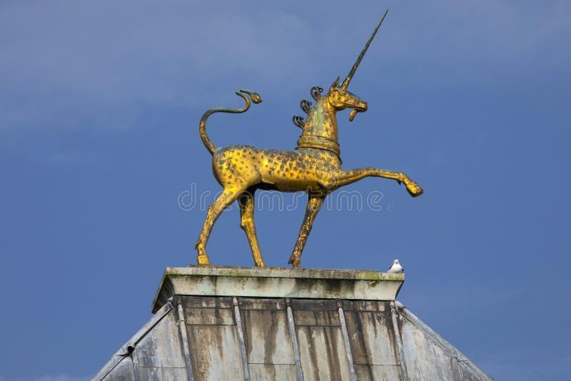 Golden Unicorn at Bristol City Hall royalty free stock image