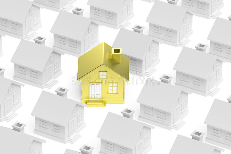 Golden unique house stand out from crowd of houses royalty free illustration
