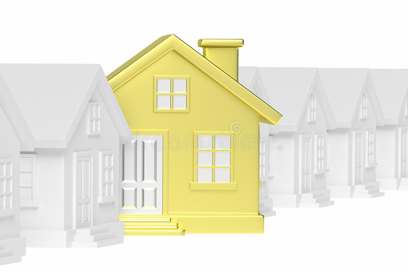 Golden unique house standing out from row of houses stock illustration
