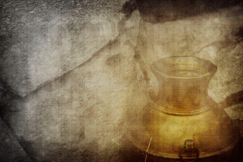 Golden urn hidden in stone stock photos