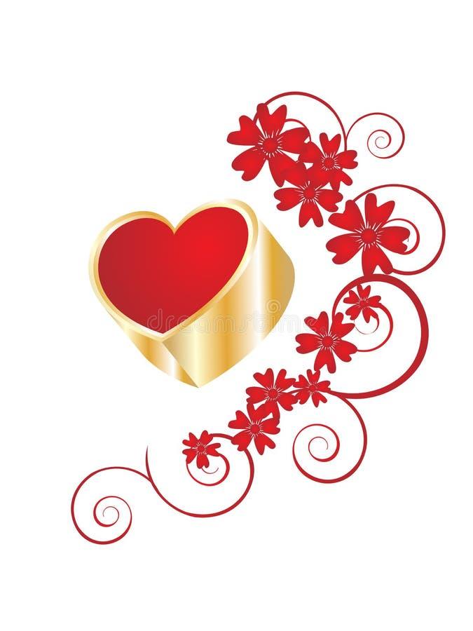 Golden valentine`s heart vector illustration