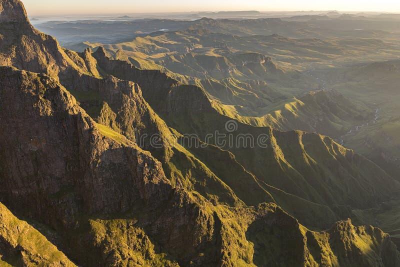 Golden Valley of the Drakensberg. Sunkissed mountain range Drakensberg South Africa stock photos