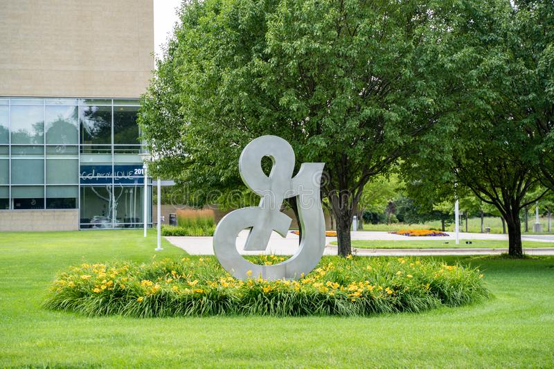 Golden Valley, Minnesota -  A Big G sign at the General Mills headquarters in suburban Minneapolis, Minnesota. This stock photos