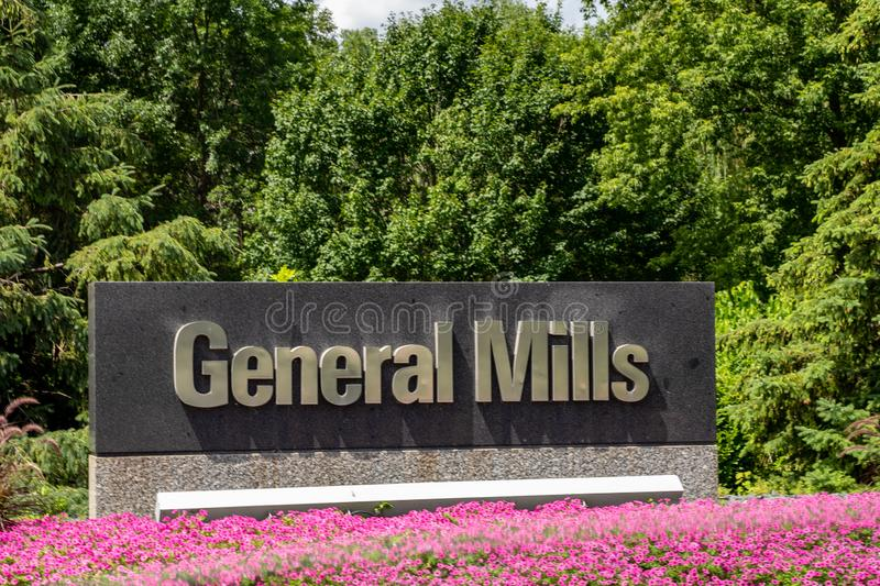 A Welcome sign at the General Mills headquarters in suburban Minneapolis, Minnesota. stock photos
