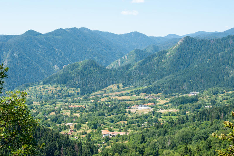Golden Valley in the Rhodope Mountains in Bulgaria. Rhodopes - a powerful mountain range separating Bulgaria and Greece. The mountains are covered with dense royalty free stock image