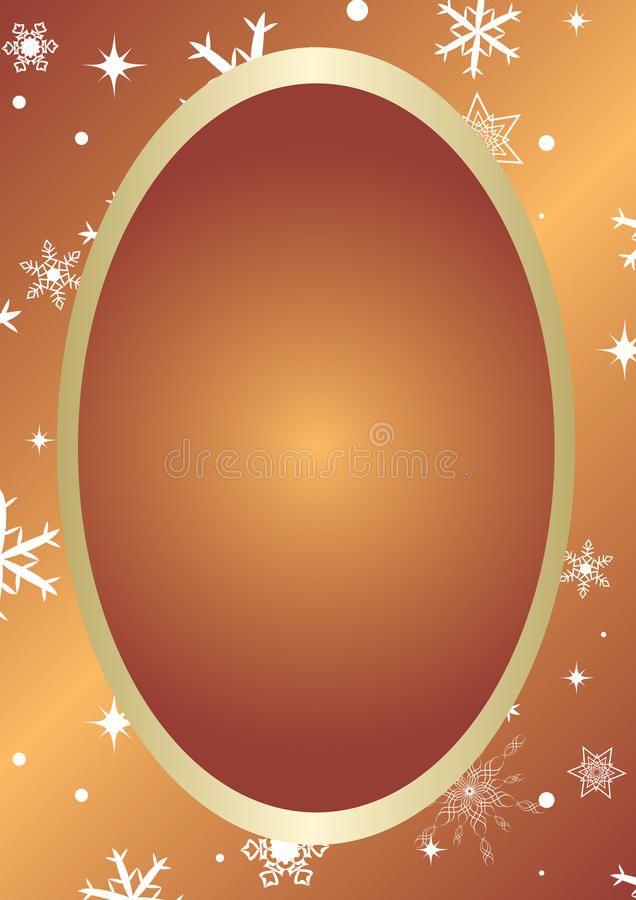 Golden Vector Christmas Card With Oval Stock Photography